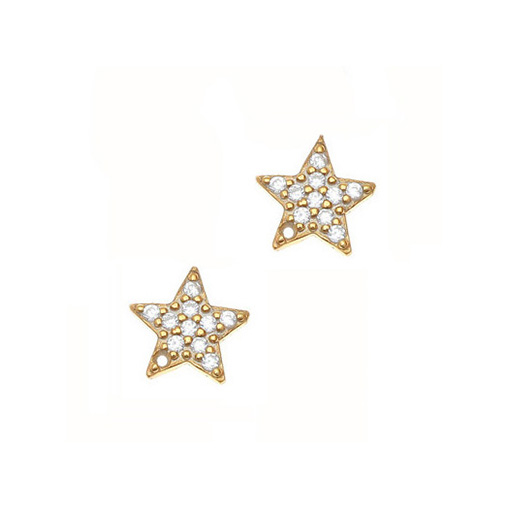 Gregio Yellow Gold Zirconia Star Earrings