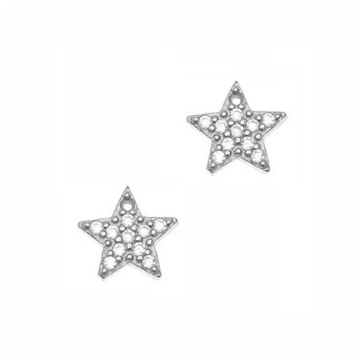 Gregio Silver Zirconia Star Earrings