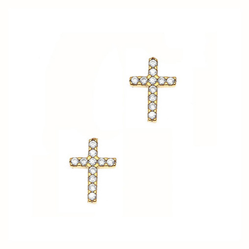 Gregio Yellow Gold Zirconia Cross Earrings