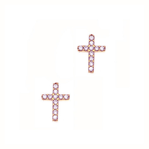 Gregio Rose Gold Zirconia Cross Earrings