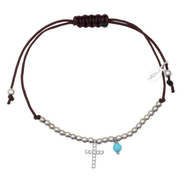 Gregio Adjustable Brown Bracelet with Silver Cross