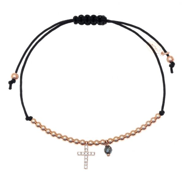 Gregio Adjustable Black Bracelet with Gold Cross