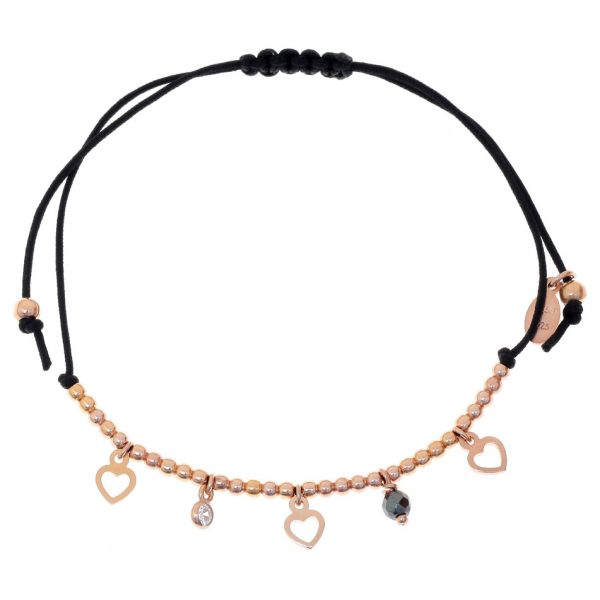 Gregio Adjustable Black Bracelet with Rose Gold Hearts