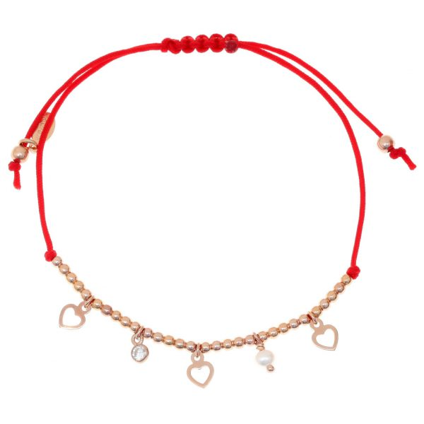Gregio Adjustable Red Bracelet with Rose Gold Hearts