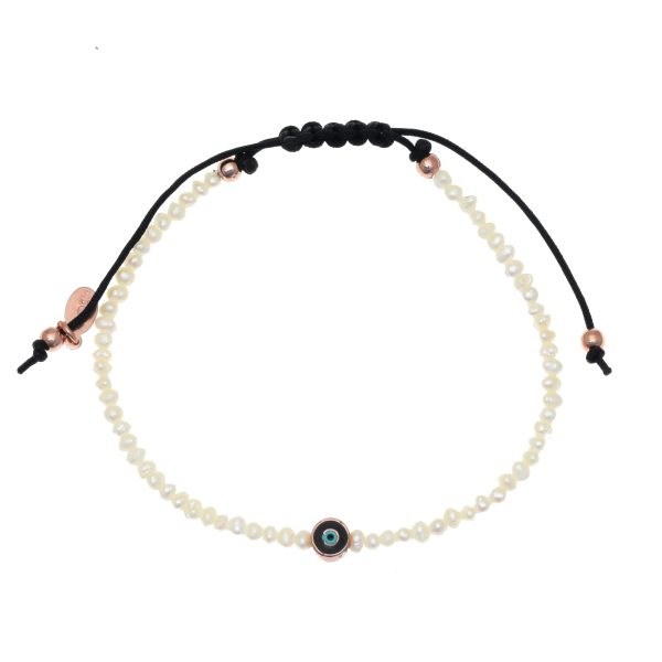Gregio Adjustable Bracelet with Pearls and Evil Eye