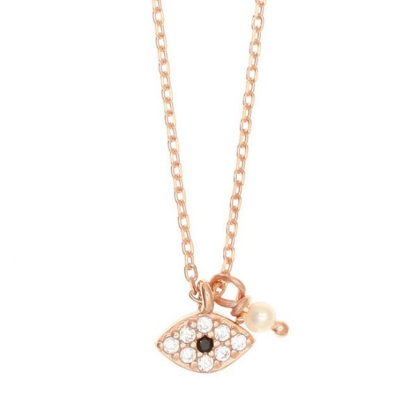 Gregio Sirens Rose Gold Evil Eye Necklace