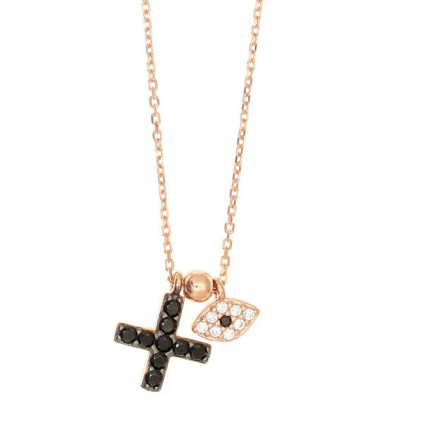 Gregio Necklace with Cross & Evil Eye
