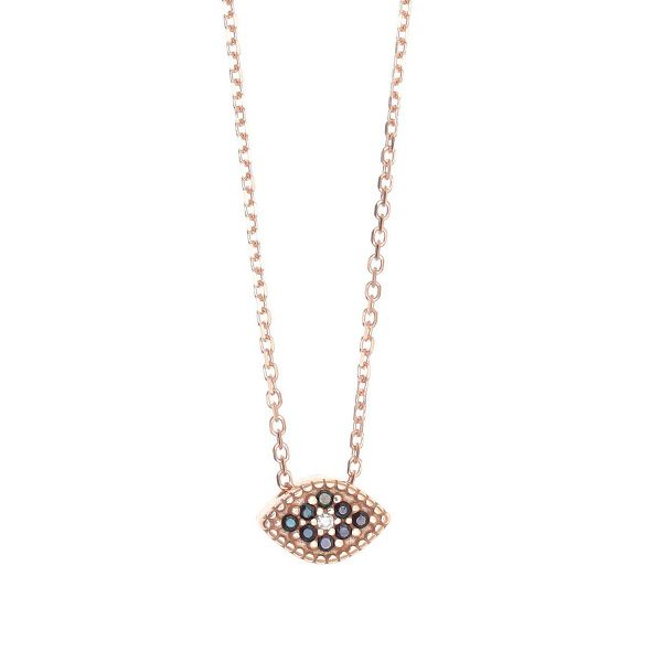Gregio Rose Gold Necklace with Black Evil Eye