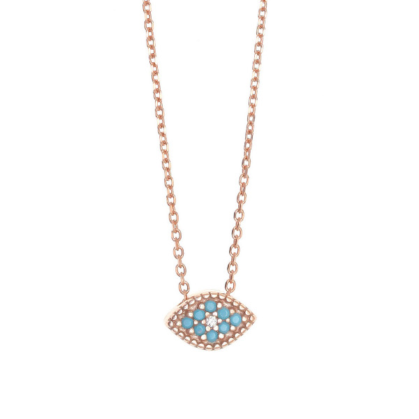 Gregio Rose Gold Necklace with Turquoise Evil Eye