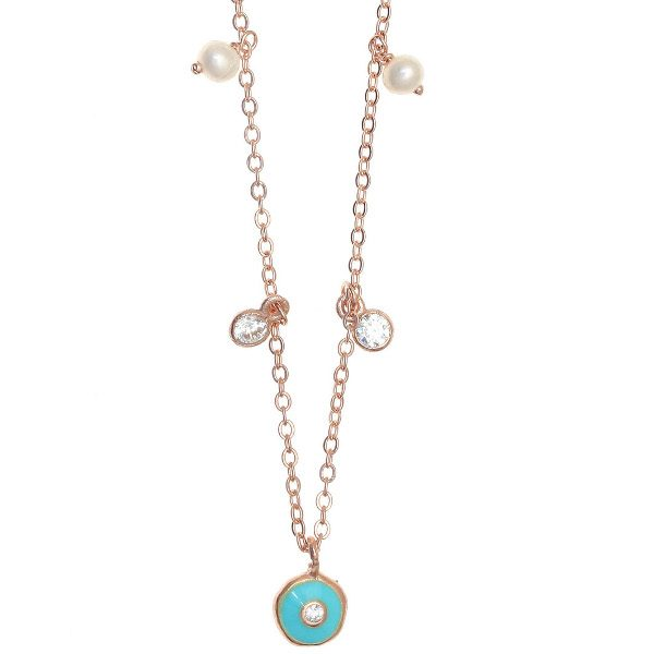 Gregio Necklace with multi-charms & Turquoise Evil Eye