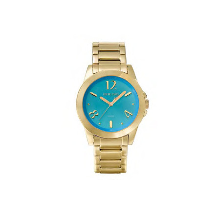 Gregio Yellow Gold & Turquoise Stainless Steel Watch with Quartz Movement
