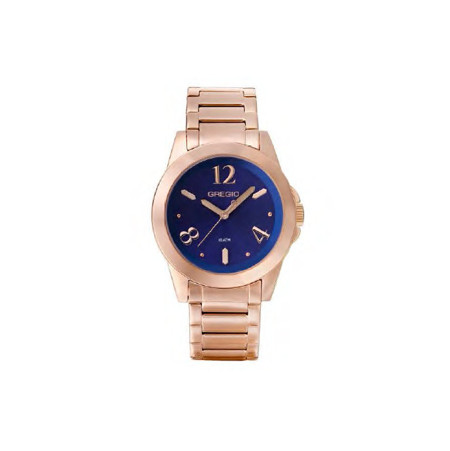 Gregio Rose Gold & Blue Stainless Steel Watch with Quartz Movement