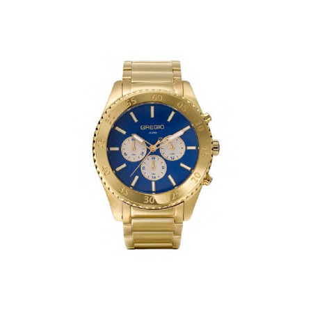 Gregio Yellow Gold & Blue Stainless Steel Watch with Quartz Movement