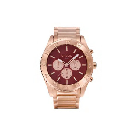Gregio Marsala & Rose Gold Stainless Steel Watch with Quartz Movement