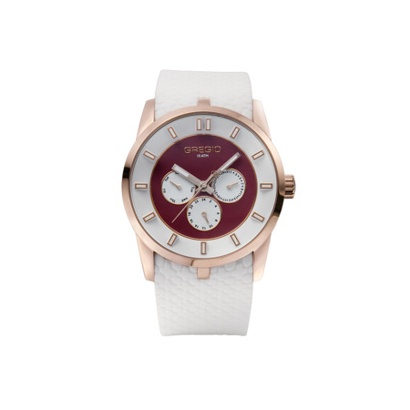Gregio Rose Gold White, Quartz Movement, Stainless Steel & Silicone Watch