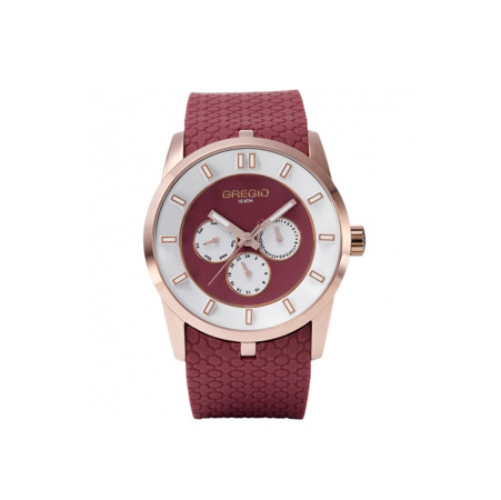 Gregio Rose Gold Marsala, Quartz Movement, Stainless Steel & Silicone Watch