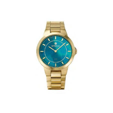 Gregio Gold & Turquoise Mother of Pearl, Quartz Movement, Stainless Steel Watch