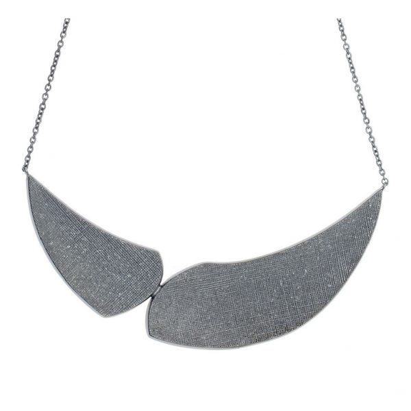 Gregio Kyma Large Pewter Statement Necklace