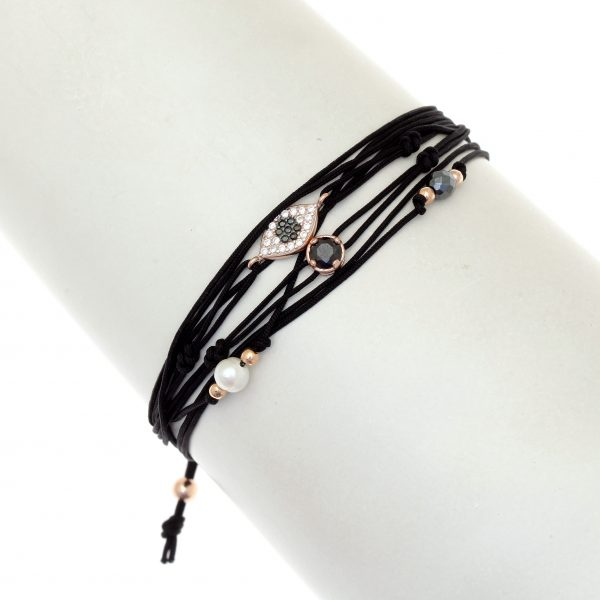 Gregio Aegis Black Bracelet with Evil Eye