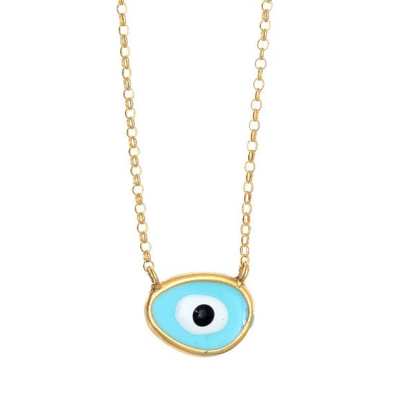 Gregio Gold & Turquoise Evil Eye Necklace
