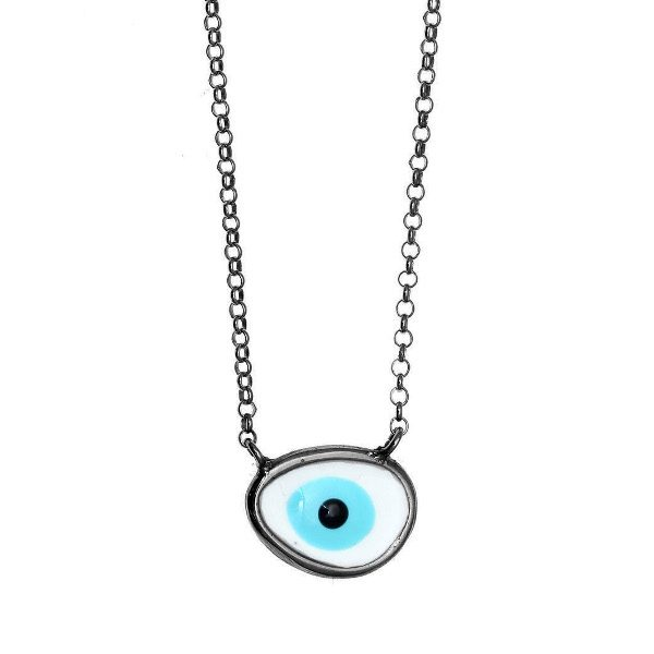 Gregio Pewter Evil Eye Necklace